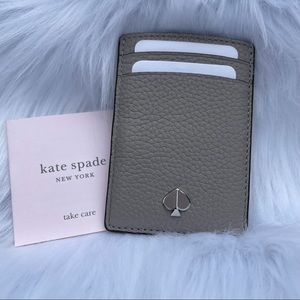 Kate Spade Pebbled Leather Cardholder True Taupe